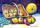 Still life with apples and melon