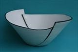 Black and white cut stoneware bowl