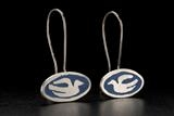 Enamel and silver long drop earrings