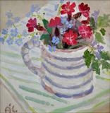 Blue-striped-mug-with-flowers