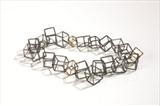 oxidised sterling silver cube necklace