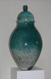Tall lidded, turquoise crackleII