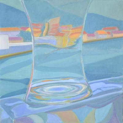 Fishing port through glass vase 3