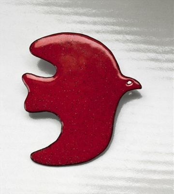 Red enamel bird brooch